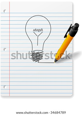 A 3D perspective ball point pen drawing an idea symbol light bulb on a page of ruled notebook paper with drop shadows.