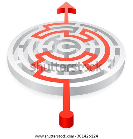 A 3D rounded, thick walled Maze, solved by a red line ending with an Arrow - stock vector