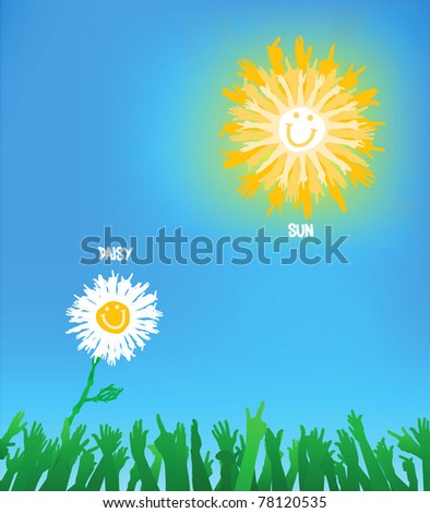 A daisy reaching to the sun, composition made of hand gestures - stock vector