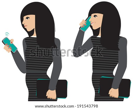 A dark haired girl taking a cell phone call.  - stock vector