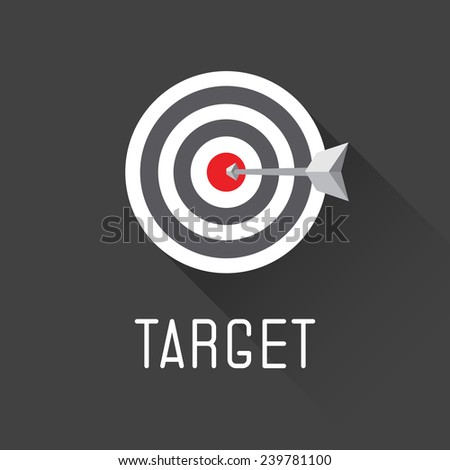 A dart is in the center of a dartboard. target concept - stock vector