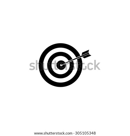 A dart is in the center of a dartboard. Target concept. Black simple vector icon - stock vector