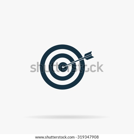 A dart is in the center of a dartboard. Target concept. Flat vector web icon or sign on grey background with shadow. Collection modern trend concept design style illustration symbol - stock vector