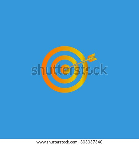 A dart is in the center of a dartboard. Target concept. Flat web icon or sign isolated on grey background. Collection modern trend concept design style vector illustration symbol - stock vector