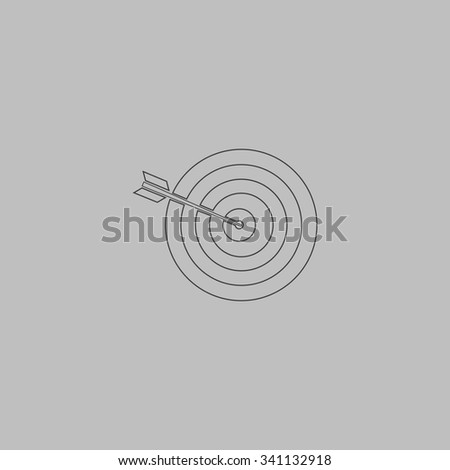 A dart is in the center of a dartboard. Target concept. Outlne vector icon on grey background - stock vector