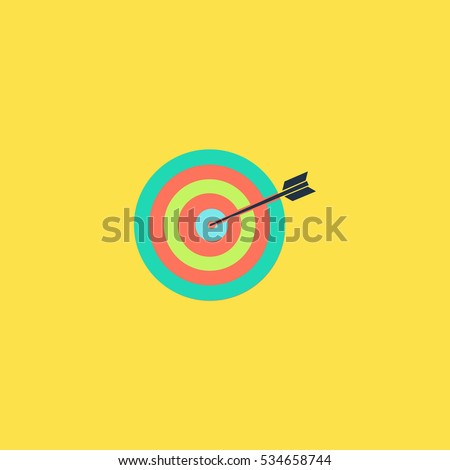 A dart is in the center of a dartboard. Target concept. Simple vector color icon