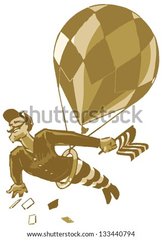A dashing chap with a handlebar mustache, swinging from a trapeze under a balloon. From his hand he drops favors to the crowds below. - stock vector