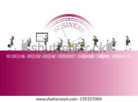 A day's work / Businesswoman - stock vector