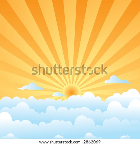 A day time illustration of the sky with sun and clouds