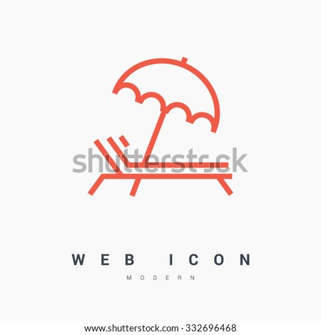 a deckchair with an umbrella isolated minimal icon. Line vector icon for websites and mobile minimalistic flat design. Modern trend concept design style illustration symbol - stock vector