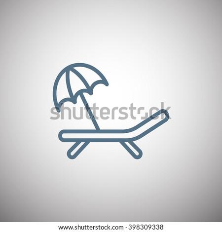 a deckchair with an umbrella vector icon - stock vector