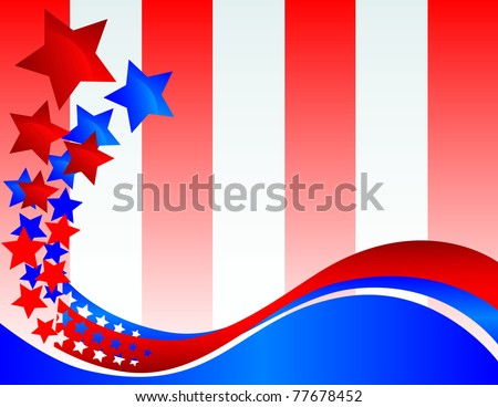 A Decorative Banner that turns into Glossy stars against a Red and White Striped Background - stock vector