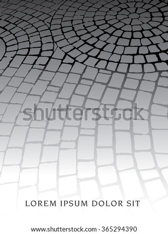 A decorative cobblestone walkway with space for your text - stock vector