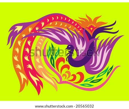 a decorative oriental phoenix flowing surrounding a flower - stock vector