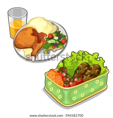 A delicious meal of meat and vegetables. Food isolated on a white background. Vector illustration. - stock vector