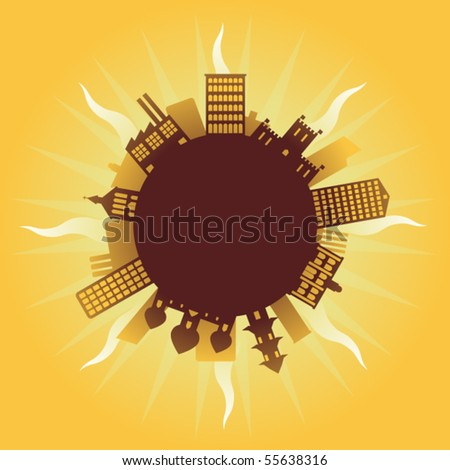 A depiction of global warming with cities over the world - stock vector