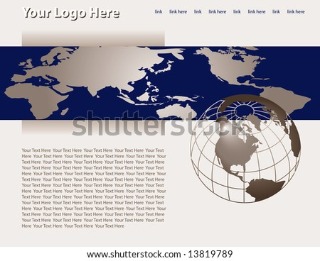 A designed web page with a global corporate theme.