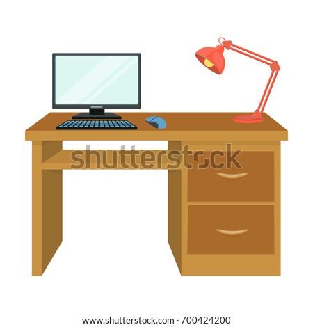 Desk Computer Desk Lamp Furniture Interior Stock Vector
