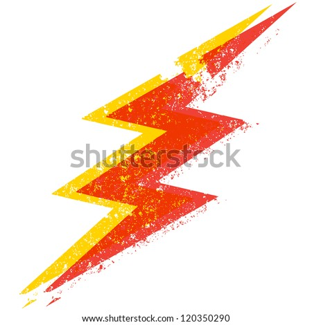 A destroyed style lightning bolt illustration - stock vector