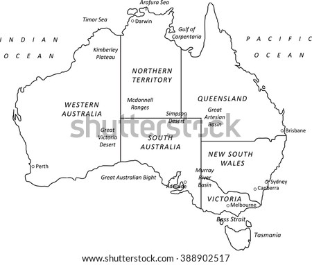 A detailed black outline map of Australia on a white background. Includes states & major cities. Ideal as a teaching or tourism resource.