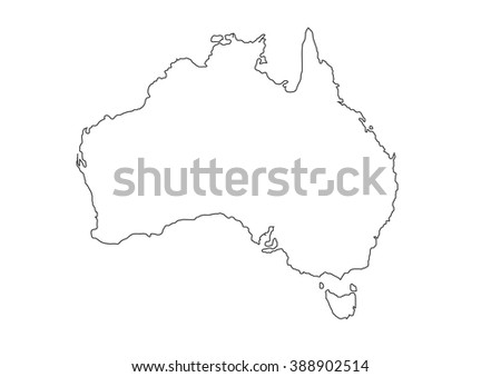 A detailed black outline map of Australia on a white background. Vector illustration may be edited and re-sized without loosing quality. Ideal as a teaching or tourism resource.