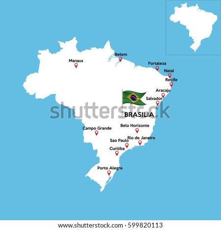 Detailed Map Brazil Indexes Major Cities Stock Vector 599820113