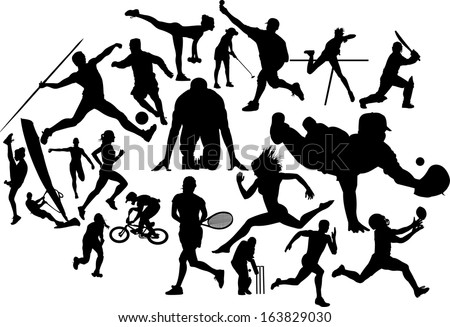 A detailed selection of twenty editable sports silhouettes - stock vector