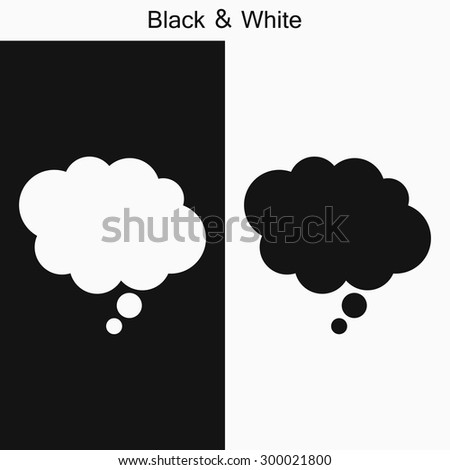a dialog cloud icon black and white - stock vector