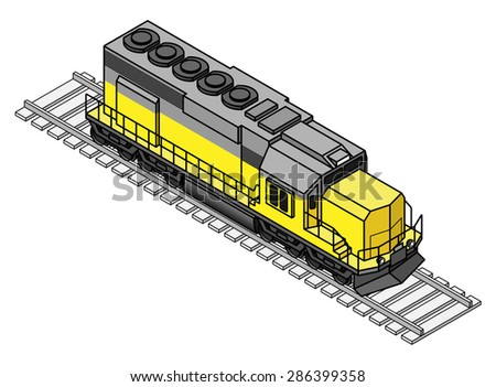 A diesel rail train engine / locomotive. - stock vector