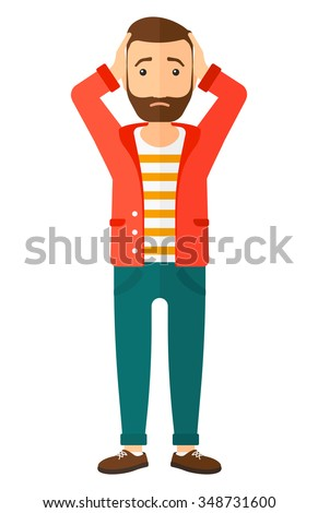 A disappointed young hipster man with the beard standing and clutching his head vector flat design illustration isolated on white background. Vertical layout. - stock vector