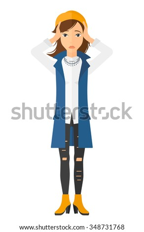 A disappointed young woman standing and clutching her head vector flat design illustration isolated on white background. Vertical layout. - stock vector