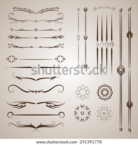 A diverse collection of vector dividers, bumpers, frames, ornaments. Floral elements - stock vector