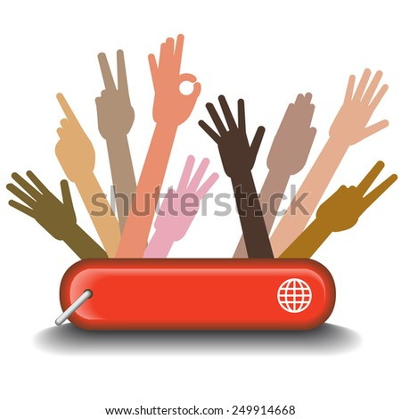 A Diversity Graphic Showing Working Together - stock vector