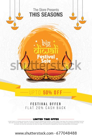 A4 Diwali Sale Poster Design Template with Abstract Watercolor Background