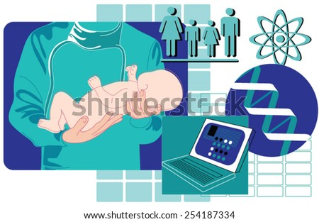 A doctor holding a newborn baby - stock vector