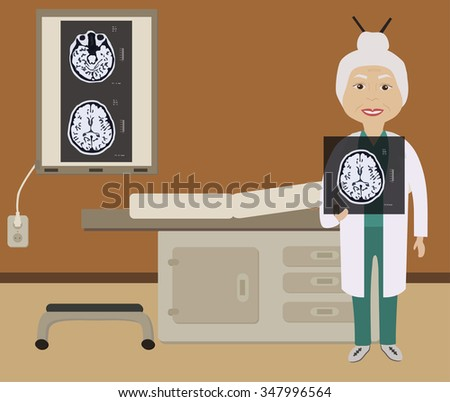 A doctor in the office holding an MRI scan of the brain - stock vector