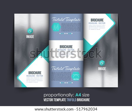 A4 Document and Brochure, Vector Background. Corporate Trifold Leaflet, Textbook Cover Design. Image Add Feature, Business Elements and Print Ready Minimal Tri Fold Pamphlet or Booklet Template
