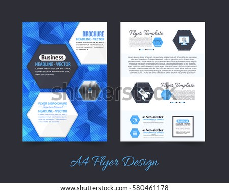 A4 Document and Vector Background. Corporate Leaflet, Textbook Cover Design. Print Ready Business Pamphlet or Low Poly Booklet Template. Flyer Polygonal Brochure
