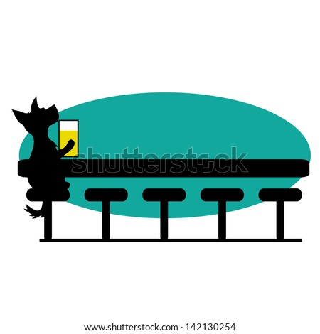 A dog is sitting at a bar having a beer - there is room for text - stock vector