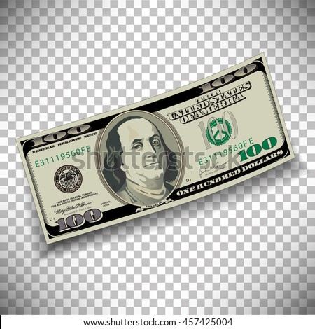 A 100 dollar bill on a transparent background - stock vector