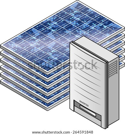 A domestic household solar power kit with polycrystalline solar panels and inverter. - stock vector