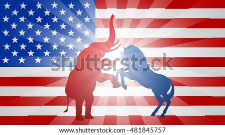 A donkey and elephant fighting in silhouette