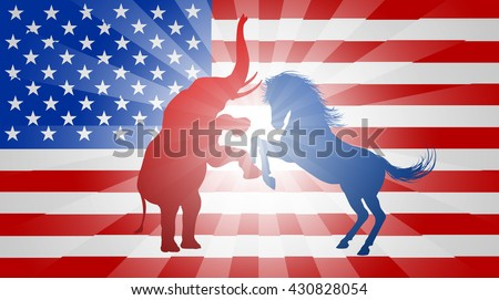 A donkey and elephant fighting in silhouette, with the animals rearing up to attack each other, symbol animals of democratic and republican parties, concept for the presidential election or politics   - stock vector