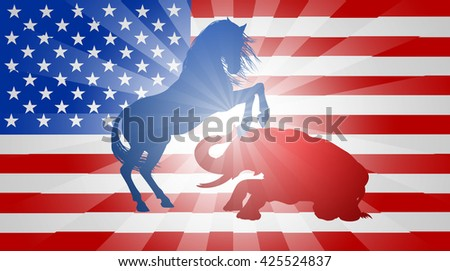 A donkey and elephant fighting in silhouette, with the donkey or jackass winning, concept for the presidential election or politics in general