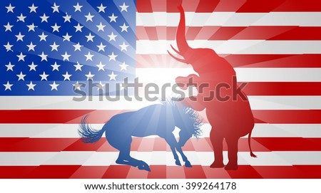 A donkey and elephant fighting in silhouette, with the elephant winning, symbols of American democratic and republican parties, concept for the presidential election or politics in general
