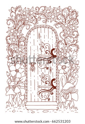 A Door Among The Flowers From Fairy Tale Vector Illustration Of Zentangl Coloring