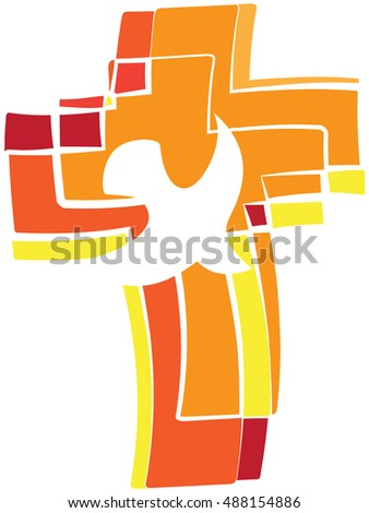 Dove Symbol Holy Spirit On Flaming Stock Vector 2018 488154886