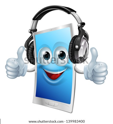 A drawing of a cartoon smiling headphones phone man - stock vector