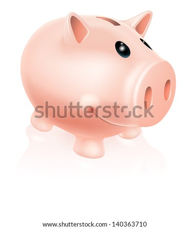 A Drawing of a smiling cartoon piggy bank character - stock vector