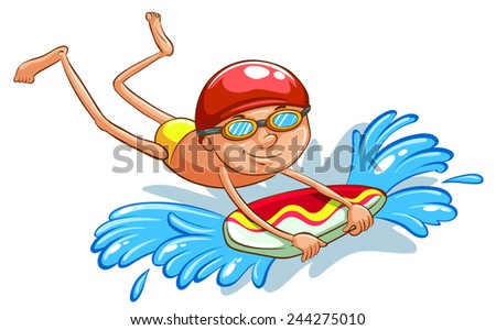 A drawing of a young boy swimming on a white background - stock vector